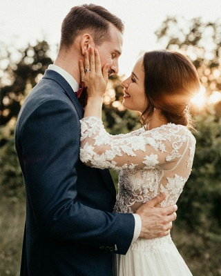 Jewel Long Sleeve Lace A Line Beach Wedding Dresses_3