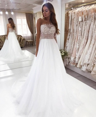 One Shoulder Crystal Tulle A Line Wedding Dress | Backless Bridal Gown_2