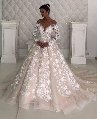 Elegant Off The Shoulder Champagne Tulle Lace A-Line Wedding Dresses_2