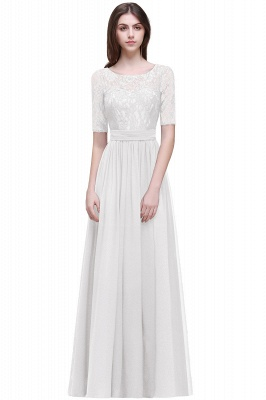 Cheap Half-Sleeve Lace Long Chiffon Evening Dress in Stock_1