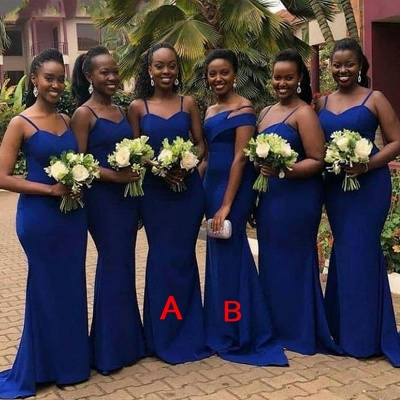 Royal Blue Spaghetti Strap Mermaid Bridesmaid Dresses_2