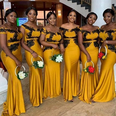 Yellow Off The Shoulder Mermaid Bridesmaid Dresses With Gold Applique_2