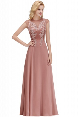Cheap A-line Jewel Sleeveless Chiffon Tulle Lace Bridesmaid Dress in Stock_1