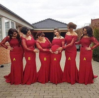 Long Sleeve Lace Sheath Fitted Mermaid Bridesmaid Dresses_2