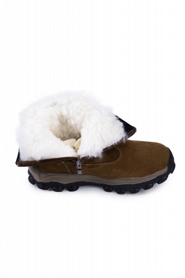 Winter Comfortable Outdoor Anti-Slip Suede Cotton Fur Lined Ankle Boots On Sale_7