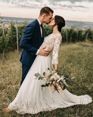 Jewel Long Sleeve Lace A Line Beach Wedding Dresses_2