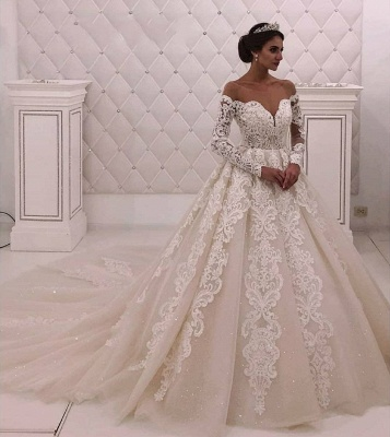 Off The Shoulder Long Sleeve A Line Wedding Dresses |Appique Bridal Gown_2