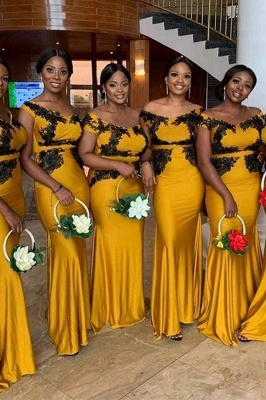 Yellow Off The Shoulder Mermaid Bridesmaid Dresses With Gold Applique_1