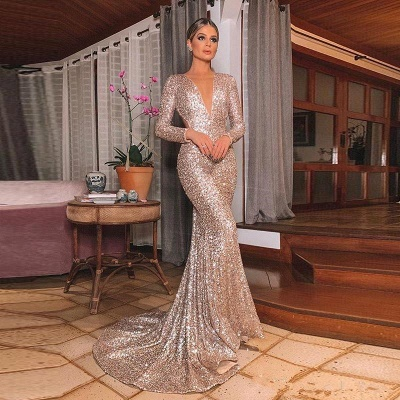 Sparkly Long Sleeve Sequin Mermaid Prom Dresses | V Neck Backless Fitted Evening Gown_4