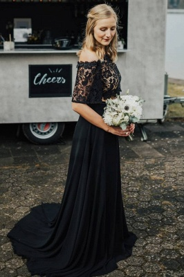Glamorous Off The Shoulder Black Chiffon Lace Prom Dresses With Half Sleeves_1