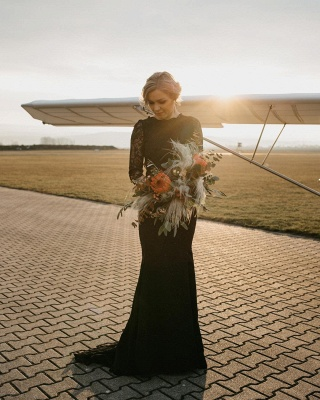 Elegant Jewel Black Lace Mermaid Evening Dresses With Long Sleeves_3