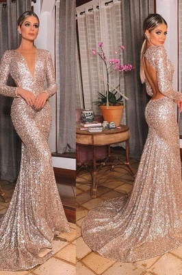 Sparkly Long Sleeve Sequin Mermaid Prom Dresses | V Neck Backless Fitted Evening Gown_3