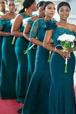 Dark Green One Shoulder Applique Mermaid Bridesmaid Dresses_1