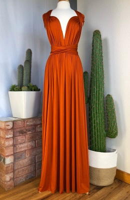 Orange Convertible Pleated Floor Length Sheath Bridesmaid Dresses_3