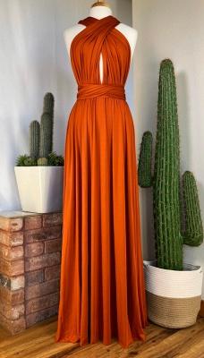 Orange Convertible Pleated Floor Length Sheath Bridesmaid Dresses_5