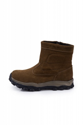 Winter Comfortable Outdoor Anti-Slip Suede Cotton Fur Lined Ankle Boots On Sale_5