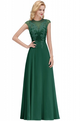 Cheap A-line Jewel Sleeveless Chiffon Tulle Lace Bridesmaid Dress in Stock_4