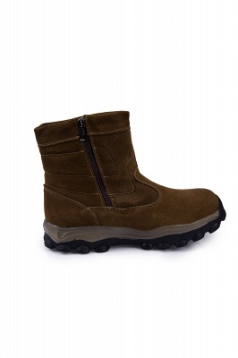 Winter Comfortable Outdoor Anti-Slip Suede Cotton Fur Lined Ankle Boots On Sale_6