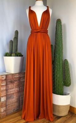 Orange Convertible Pleated Floor Length Sheath Bridesmaid Dresses_2