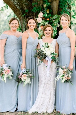 Blue Chiffon Convertible Sheath Bridesmaid Dresses | Floor Length Party Dresses