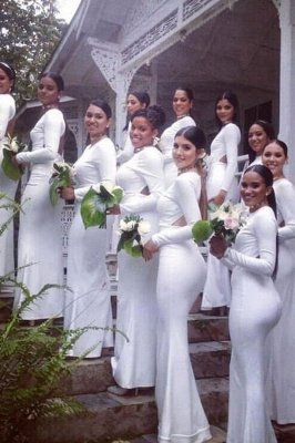 White Long Sleeve Fitted Mermaid Bridesmaid Dresses | Open Back Party Dresses