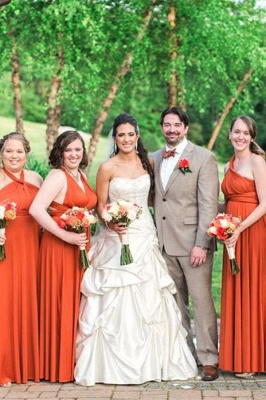 Orange Chiffon Sheath Bridesmaid Dresses | Convertible Wedding Party Dress