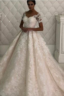 Gorgeous Short Sleeve Jewel A Line Wedding Dresses | Beaded Detachable Train Wedding Gown
