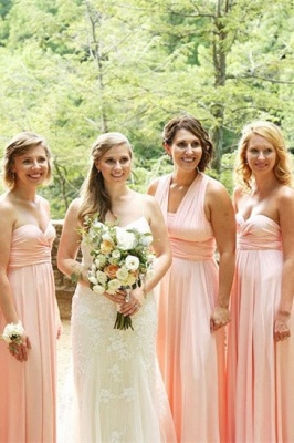 Pink Convertible Pleat Chiffon Floor Length Bridesmaid Dresses