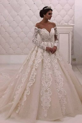Off The Shoulder Long Sleeve A Line Wedding Dresses |Appique Bridal Gown