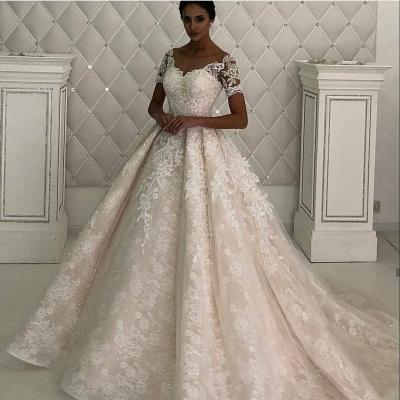 Gorgeous Short Sleeve Jewel A Line Wedding Dresses | Beaded Wedding Gown_2