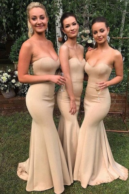 Gold Sweetheart Ruffles Mermaid Bridesmaid Dresses