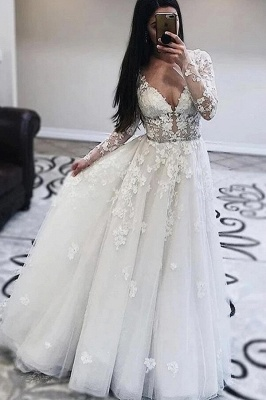 Modest A-line V-neck Long Sleeves Tulle Lace Wedding Dress
