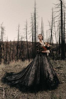 Glamorous V Neck Black Lace Wedding Dresses With Long Sleeves_2