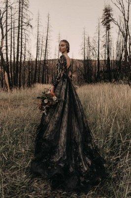Glamorous V Neck Black Lace Wedding Dresses With Long Sleeves_3