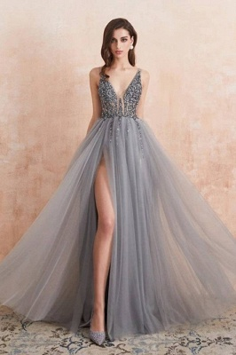 Sexy Long A-line V-neck Tulle Beading Open Back Prom Dress with Slit