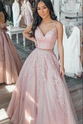 Gorgeous Long A-line Two Piece Spaghetti Straps Prom Dress with Appliques Lace