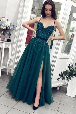 Beautiful Long A-line Spaghetti Straps Tulle Prom Dress with Slit
