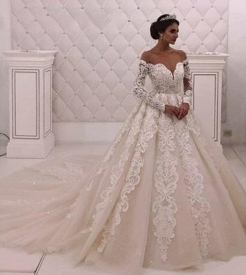Off The Shoulder Long Sleeve A Line Wedding Dresses |Appique Bridal Gown_2