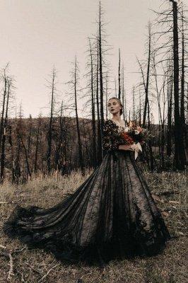 Glamorous V Neck Black Lace Wedding Dresses With Long Sleeves_1