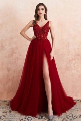 Beautiful Long V-neck Tulle A-line Backless Side Slit Prom Dress