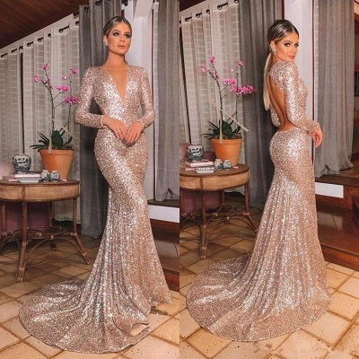 Sparkly Long Sleeve Sequin Mermaid Prom Dresses | V Neck Backless Fitted Evening Gown_6
