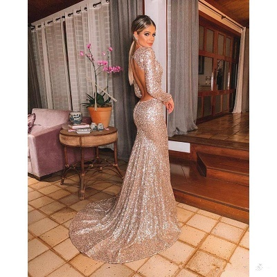 Sparkly Long Sleeve Sequin Mermaid Prom Dresses | V Neck Backless Fitted Evening Gown_5