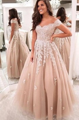 Vintage Long A-line Off-the-shoulder Tulle Prom Dress with Lace Appliques