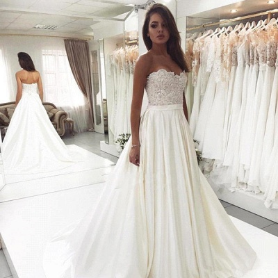 Sweetheart Applique Beaded A Line Wedding Dresses | Backless Bridal Gown_2