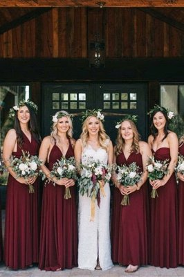 Burgundy Straps Chiffon Floor Length A Line Bridesmaid Dresses_1
