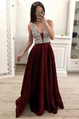 Stylish Long A-line V-neck Satin Floor-length Backless Prom Dress