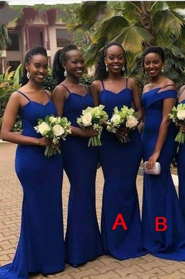 Royal Blue Spaghetti Strap Mermaid Bridesmaid Dresses_1