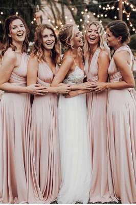 Elegant A-Line Chiffon Ruched V-Neck Long Bridesmaid Dress | Wedding Party Dress BM0232_3