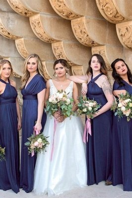 Dark Navy Chiffon Bridesmaid Dresses | Floor Length Sheath Party Dress For Wedding
