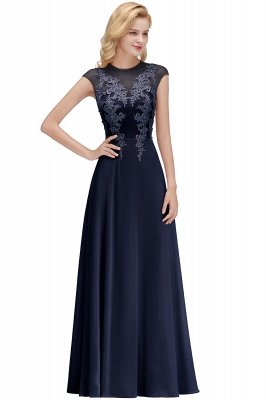 Cheap A-line Jewel Sleeveless Chiffon Tulle Lace Bridesmaid Dress in Stock_3
